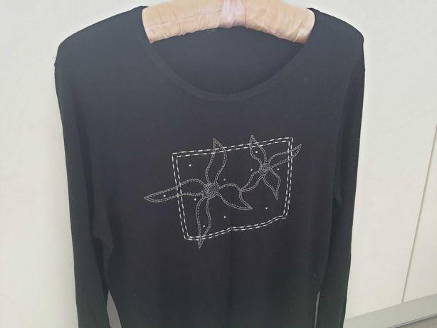 bluzka, sweterek czarne z srebrną nitką roz. M