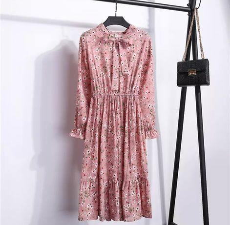 Фрезовое платье пудровый оттенок нежный розовый міді квітковий принт