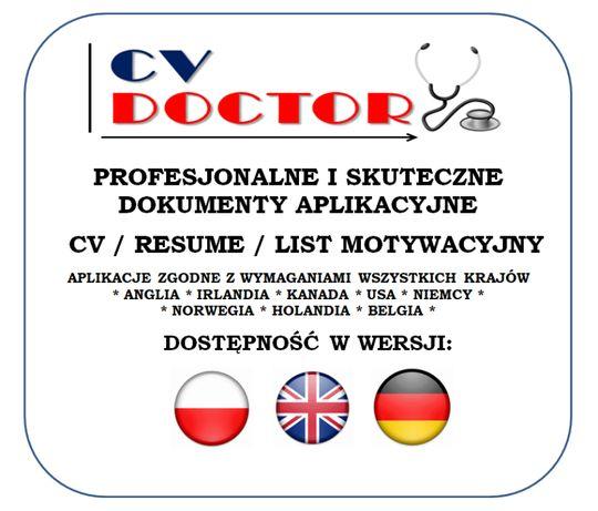 CV DOCTOR * PROFESJONALNE CV i LM - Język PL / EN / DE - od 100 zł