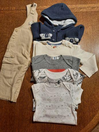 Pajac koszulka spodnie ogrodniczki r.74-80 9/12M