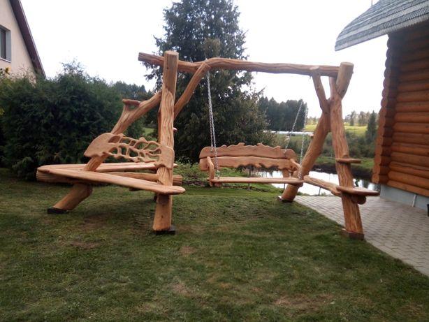 Huśtawka Ogrodowa Ręcznie Rzeźbiona Dębowa Huśtawki do Ogrodu