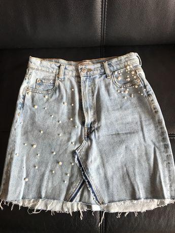 Spódniczka dżinsowa ZARA perły