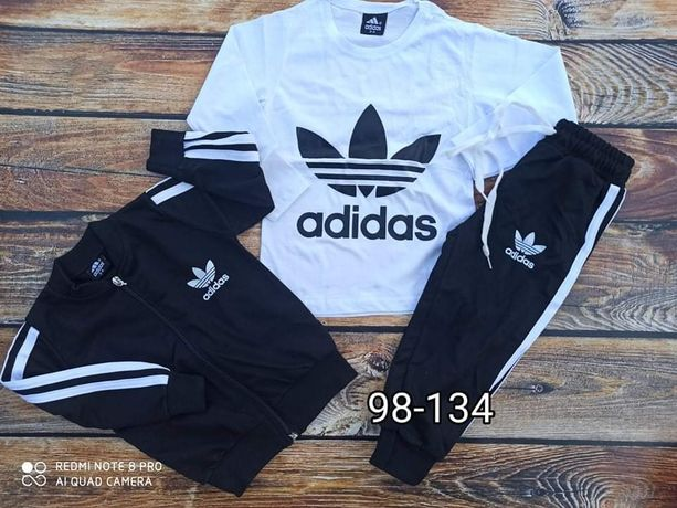 Dres Adidas zestaw 3 częściowy  bluza spodnie koszulka  98-134