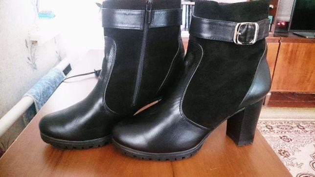 Зимние ботильоны/ботиночки натуральная кожа 42-43 размер .