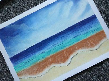 Rysunek A3 brzeg morza pejzaż pastele dla ucznia plastyka do szkoły