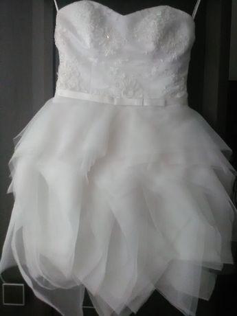 Sukienka ślubna krótka 34 XS S wyjątkowa