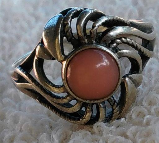 Колечко старое кольцо серебро * 875 СССР Коралл