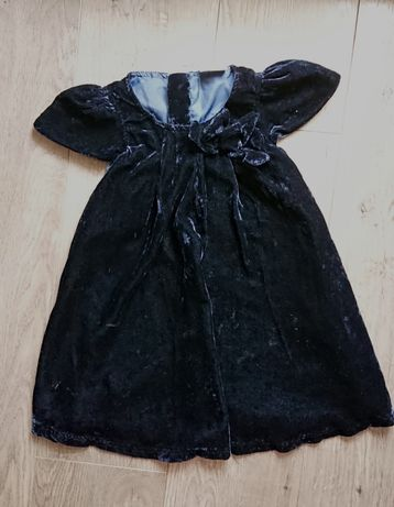 Sukienka welurowa lindex, elegancka, Święta, granatowa, r. 98, j. nowa