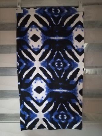 Spódnica tuba bawełna kobalt grafika biel czerń rozmiar S