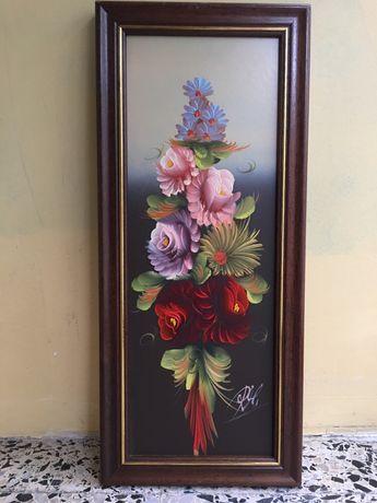 4 Quadros pintados à mão com o tema de flores