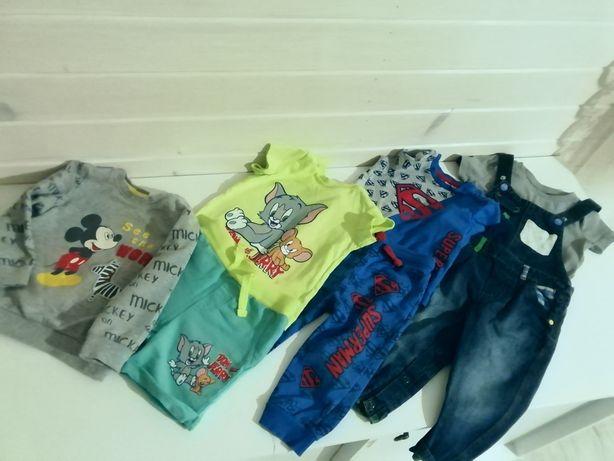 Zestaw spodnie ogrodniczki 80cm,bluza,t-shirt,spodenki 80, bluzka