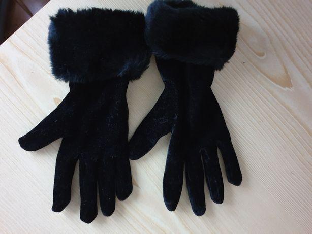 Rękawiczki welurowe z futerkiem M