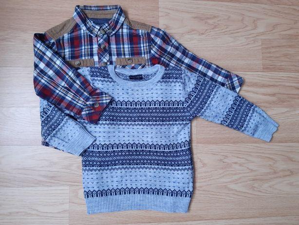 2-pak sweterek i koszula rozmiar 92