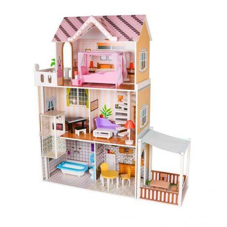 Drewniany domek dla lalek mebelki +oświetlenie Led