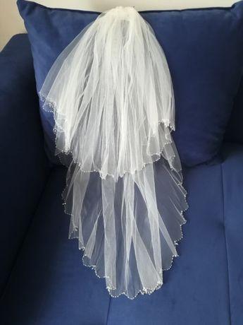 Welon ślubny dwuwarstwowy koraliki tiul ślub