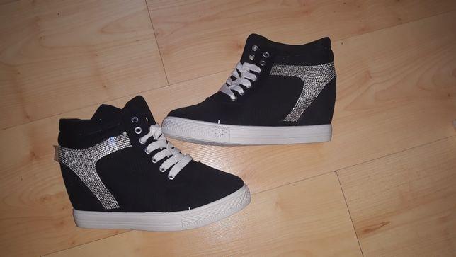 Nowe sneakersy botki czarne diamenciki
