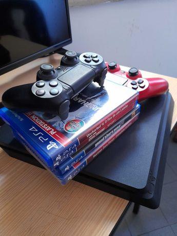 PS4+ dois comandos (1 avariddo) + 6 jogos
