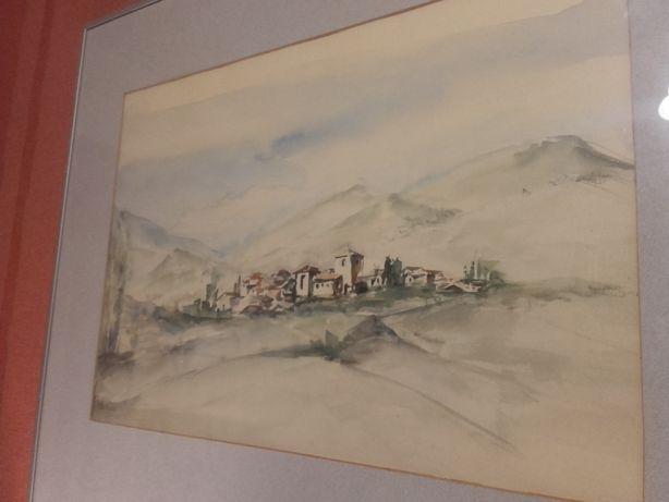 Obraz ,Akwarela osada w górach Sierra Nevada TANIO!!