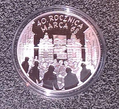 Moneta kolekcjonerska - 40 Rocznica Marca 68 10 zł (2008 rok)