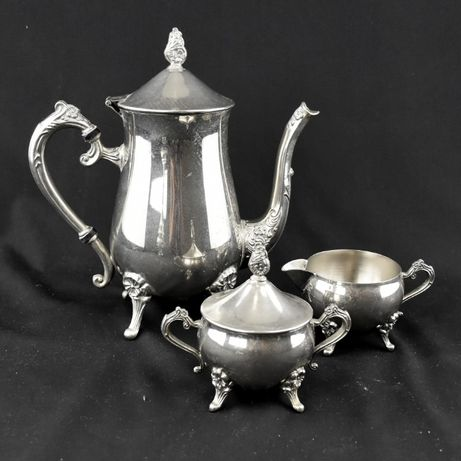 Serviço de Café de 3 peças Metal prateado / casquinha
