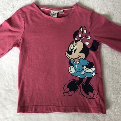 bluzka z długim rękawem różowa disney myszka minnie mouse 98/104