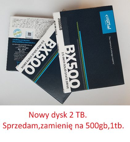 Nowy, zapakowany DYSK SSD 2TB. Sprzedam, zamienię. Polecam.