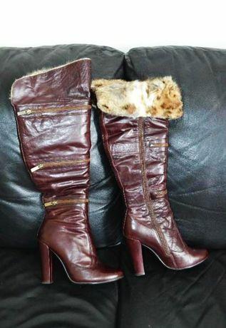 Сапоги кожаные  MOTT зимние ботфорты
