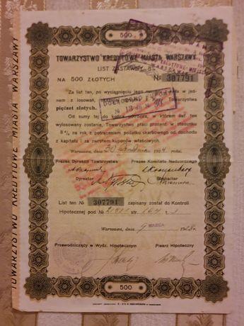 List zastawny 8 % List zastawny na 500 zł Towarzystwo Kredytowe 1924r