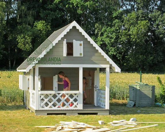 Domek dla dzieci 100% drewno piaskownica taras