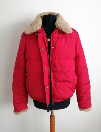 Czerwona ciepła kurtka bomber jacket z futerkiem misiem L XL