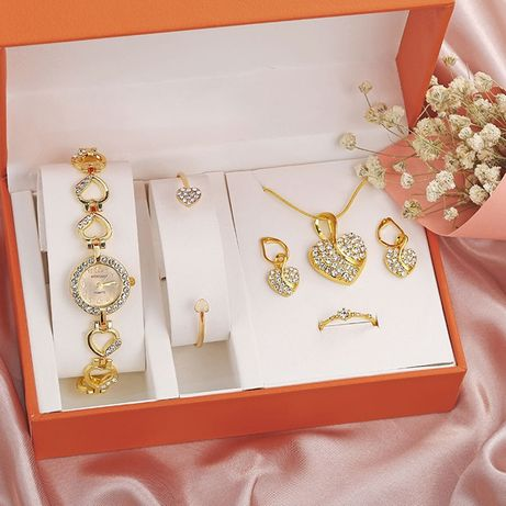 Conjunto de relógio com zircões cintilantes, colar, pulseira, brincos