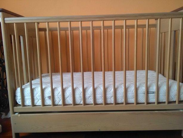 Łóżeczko dziecięce Drewex+Garnuszek na klocuszek Fischer Price
