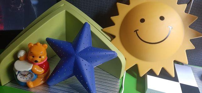 Półki scienne ikea,słoneczko  lampka i budzik miś