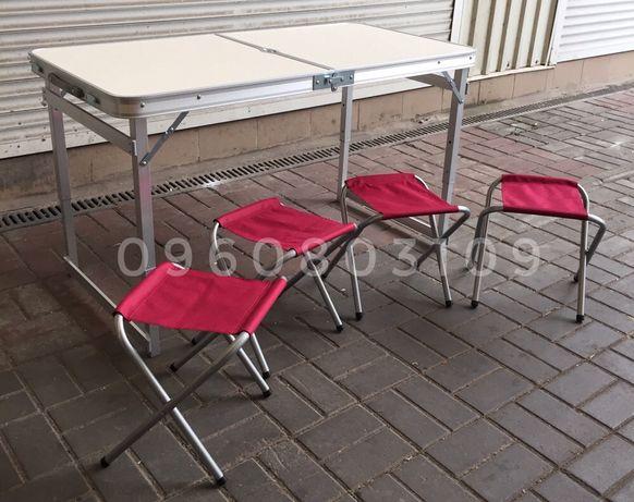 УСИЛЕННЫЙ стол + 4 стула + Зонт. Раскладной столик для пикника. Природ