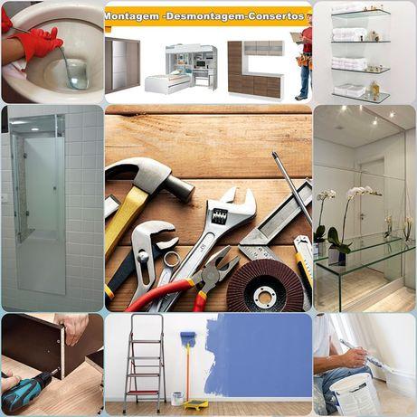 Montagem de móveis, vidros em geral, pintura, desentupir sanitas