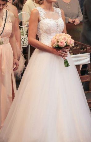 Przepiękna suknia ślubna księżniczka tiul tiulowa cekiny model 2018