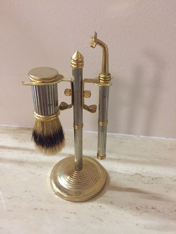 Stary toaletowy zestaw do golenia - mosiądz + plater