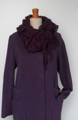 Płaszcz śliwkowy oryginalny luźny M/L + szalik