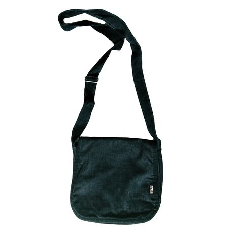 Czarna torebka sztruksowa torba na ramię listonoszka