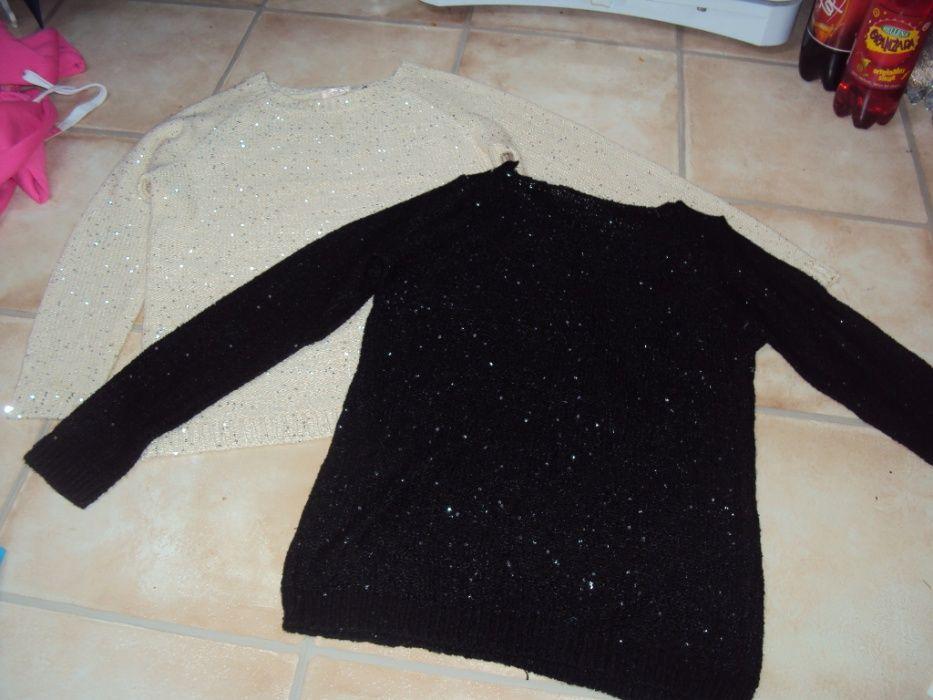 Sweter cekiny beżowy czarny dwa za 35 zł s/m 36/38 Dusin - image 1