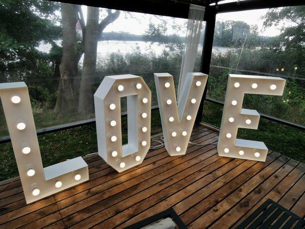 Wynajem napis LOVE, NAJTANIEJ skrzynia, tablica powitalna, ozdoby ślub
