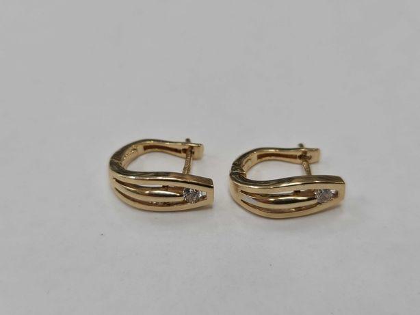 Piękne złote kolczyki damskie/ 585/ 3.95 gram/ Cyrkonia