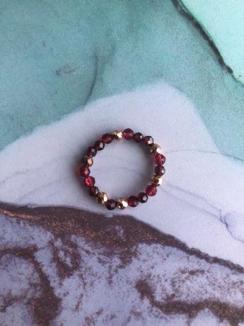 Handmade pierścionek z granatem i hematytem