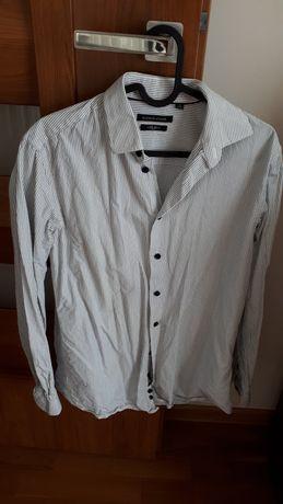 Koszula męska biała w czarne paski rozmiar S