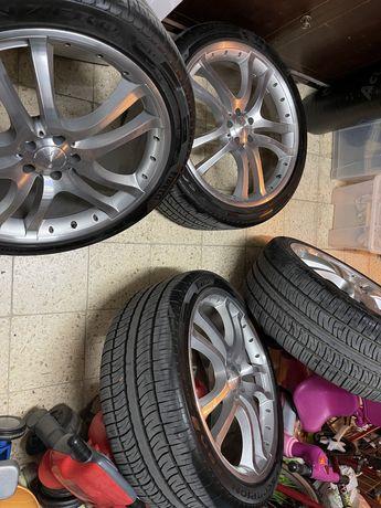 Jantes 5x112 22 Mercedes Brabus pneus novos Pirelli 285 35