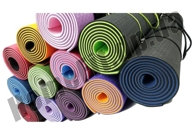 Коврик HomeFit TPE 6мм +ЧЕХОЛ/Каремат-мат для йоги фитнеса йогамат