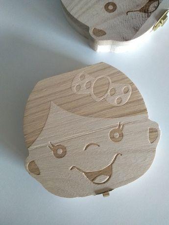 pojemnik mleczne zęby szkatułka box prezent drewniana pamiątka