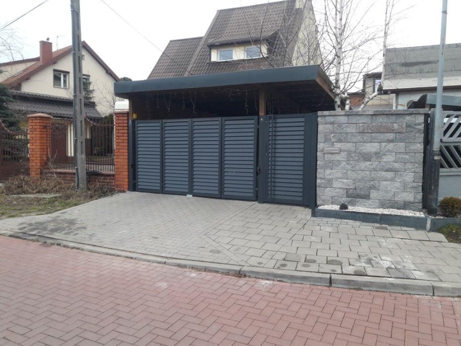 Brama przesuwna dwuskrzydłowa ogrodzenie balustrady