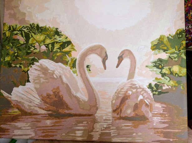 Картина пара лебедів