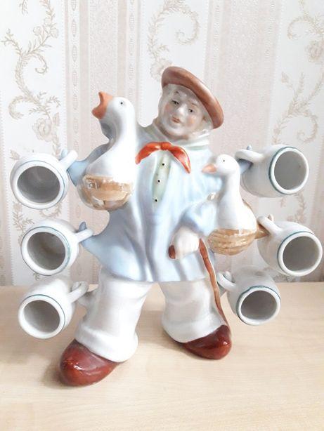 Фарфоровая статуэтка штоф Германия Wagner & Apel немец бюргер с гусями